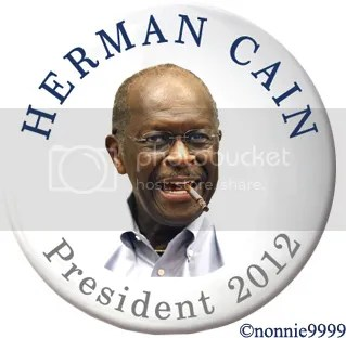 herman cain campaign button smoking cigarette