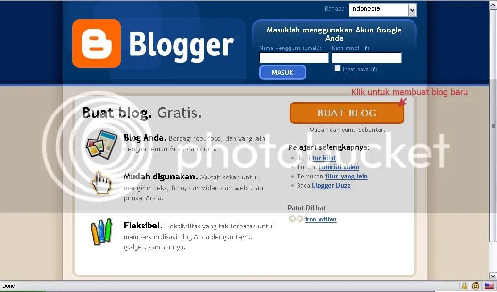 Klik [BUAT BLOG] untuk memulai pembuatan blog