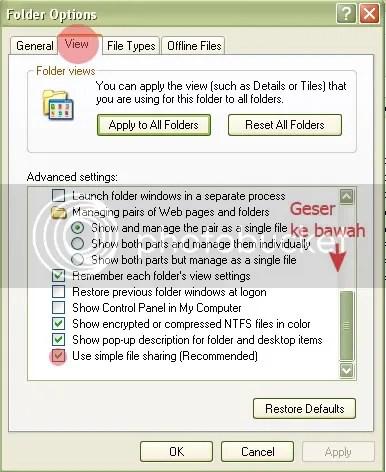 Matikan fitur Simple File Sharing