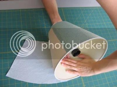 press fabric along lampshade