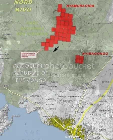 Nyamuragira volcanic eruption, UNOSAT map 4 January 2010