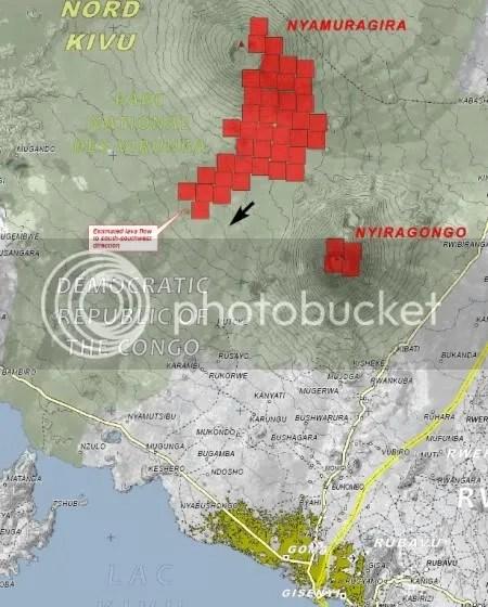 Nyamuragira volcanic eruption, UNOSAT map 4 January 2010