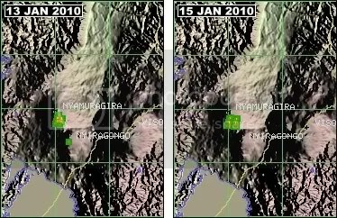MODIS hotspots at Nyamuragira volcano, D. R. Congo, 13 and 15 January 2010