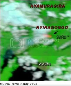 Nyiragongo - MODIS satellite image, 4 May 2009