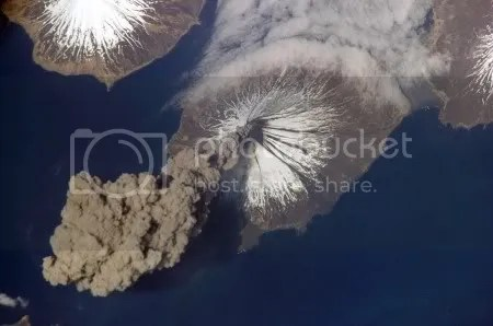 Mount Cleveland erupts. Picture taken by Astronaut Jeffrey N. Williams, 7 June 2006. NASA image.