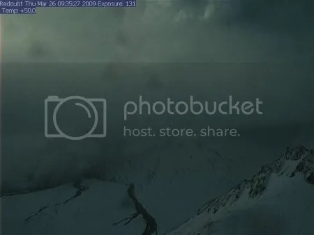 Redoubt volcano - AVO Hut Webcam, 26 March 2009