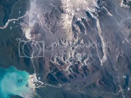 Fig. 1. Remote sensing image showing locations of photos (numbered), Chaiten volcano (CV) and town (CT), and Minchinmavida volcano (M). (Source: Int'l Space Station, Feb 24, 2009, Astronaut photograph ISS018-E-35716)