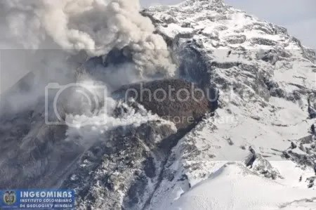 Nevado del Huila - image from INGEOMINAS overflight, 29 October 2009 (copyright INGEOMINAS)