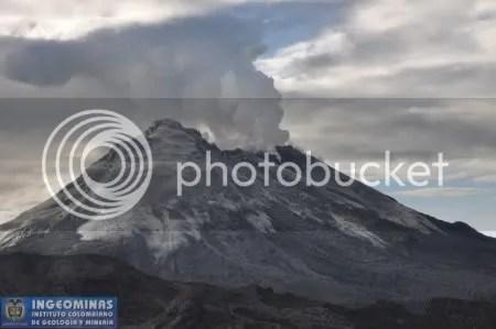 Nevado del Huila - image from INGEOMINAS overflight, 2 November 2009 (copyright INGEOMINAS)