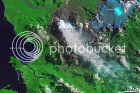 Chaiten volcano, Chile. 6 March 2009 (NASA EO-1 image).