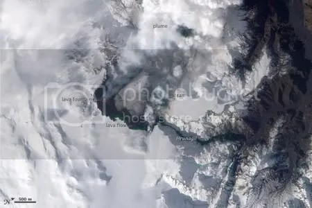 Eruption of Eyjafjallajokull Volcano, Iceland, 24 March 2010 (NASA Earth Observatory)