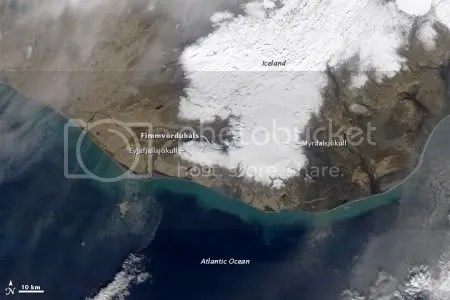 Eruption of Eyjafjallajokull Volcano, Iceland, 26 March 2010 (NASA Earth Observatory)
