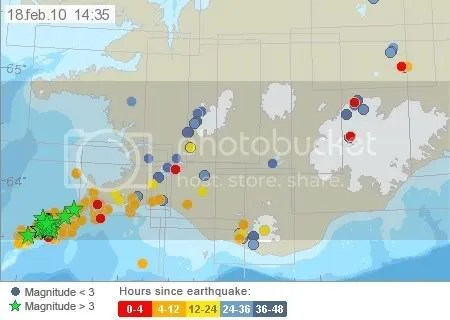 Earthquake activity in south-west Iceland, 18 February 2010 14:35 UTC (Iceland Meteorological Office map)