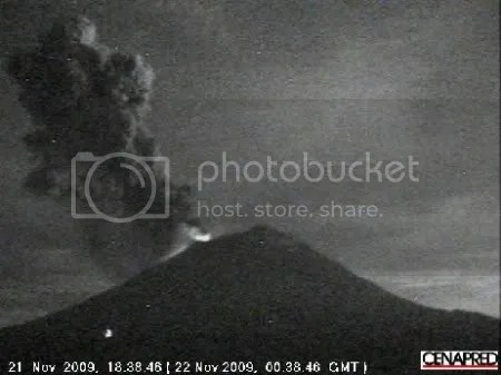 Popocatepetl volcano, 21 November 2009 (CENAPRED)