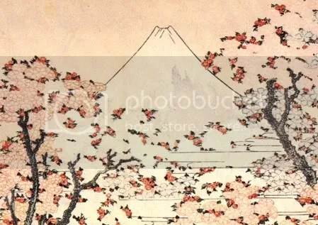 Katsushika Hokusai, 'Mount Fuji seen through cherry blossom' (c.1834) - detail
