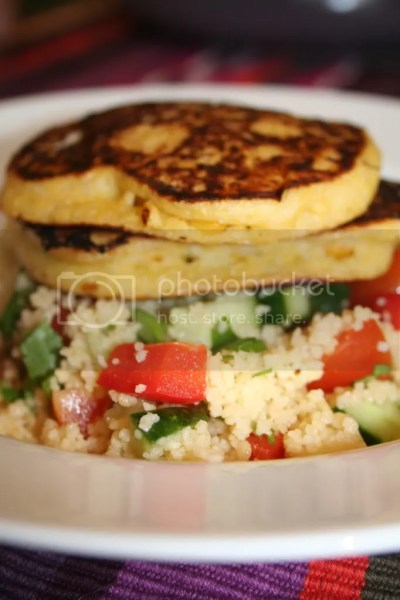Corn Fritters with Couscous Salad