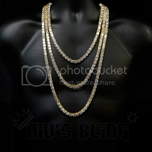 18k Gold 1 Row 8MM Lab Diamond Iced Out Chain Men's Hip ...