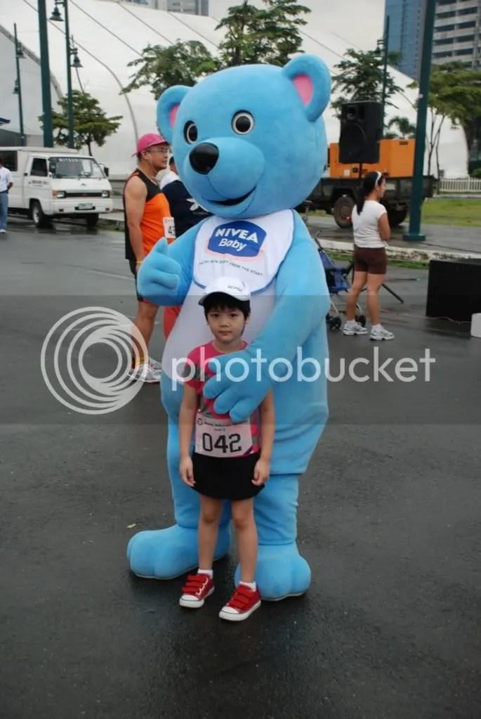 Mikka with the friendly Nivea baby bear mascot