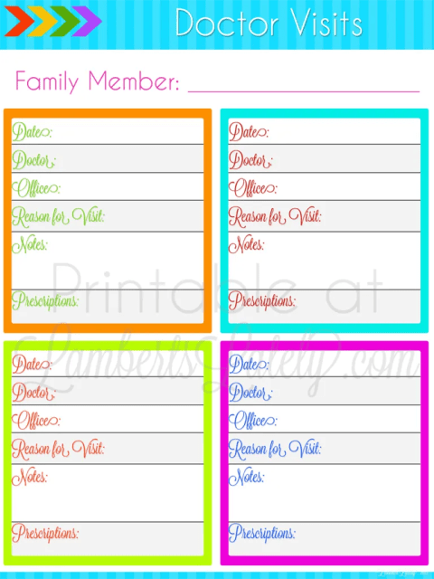 Doctor Visit Printable || free planner || Ultimate Planning Notebook || medical tracker for kids
