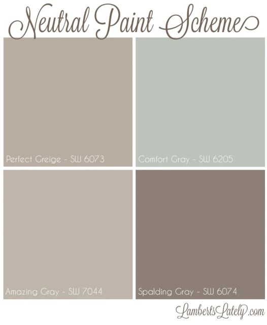Neutral Paint Scheme || Perfect Greige || Comfort Gray || Amazing Gray || Spalding Gray || Sherwin Williams || Farmhouse Paint Ideas