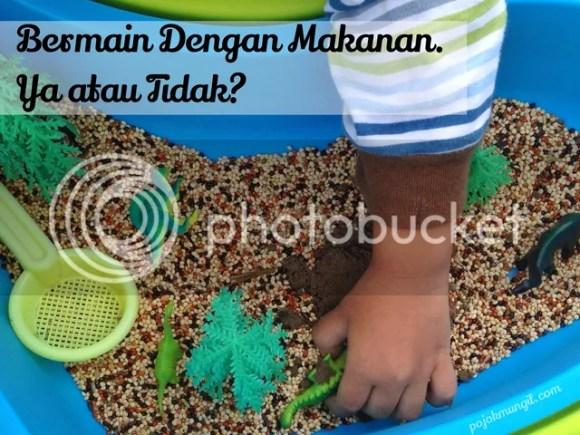 Sensory play, sensory bin, sensoy bin ideas, playing with foods, bermain dengan makanan,