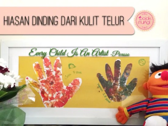 hiasan dinding dari kulit telur, craft for children