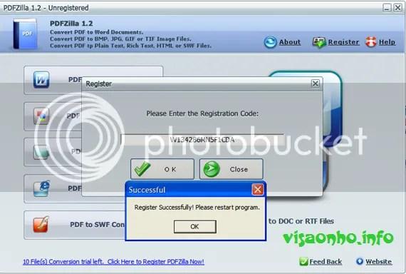 Bản quyền PDFZilla 1.2 miễn phí
