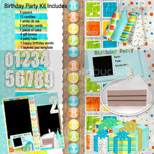 birthday digital scrapbook freebie