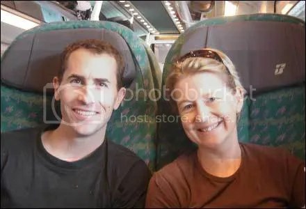 Jason and Andrea travelling from Rome to Florence during their trip to Italy in 2006