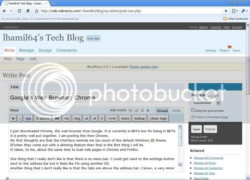 Screenshot of Google's Chrome web browser