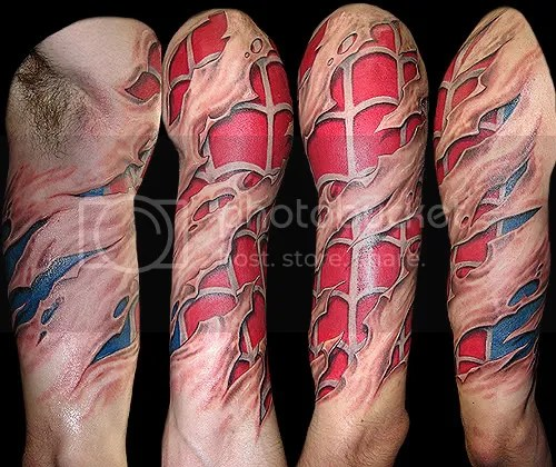 Spiderman Tattoo Is Awsome. The guy in this photo is a true Spidey fan he