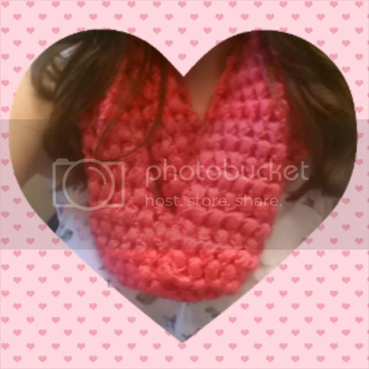 Valentine's Day Hot Pink Puff Stitch Cowl Craft DIY Heart