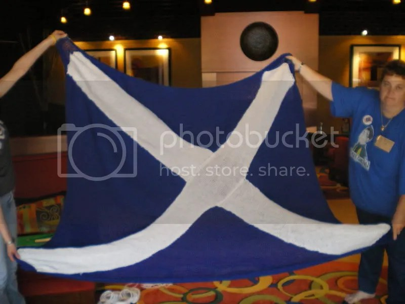 The Scottish Flag blanket I made for Paul McGillion