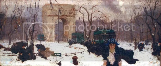 Clancy made her way south across Washington Square (1920). Dean Cornwell (1892-1960). Oil on paper, 15 1/2 x 37 ¾ in. New Britain Museum of American Art, Gift of Arthur William Brown, 1966.13 LIC.