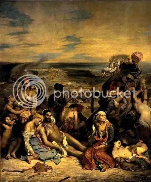The Massacre at Chios (French: Scène des massacres de Scio; familles grecques attendant la mort ou l'esclavage), 1824. Eugène Delacroix (1798-1863). 4.19 x 3.54 m. Musée du Louvre, purchased at the Salon of 1824, INV. 3823.