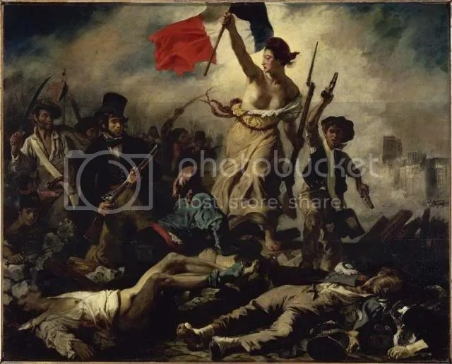 July 28: Liberty Leading the People (French:  Juillet 28: La Liberté guidant le peuple), 1830-31. Eugène Delacroix (1798-1863). Oil on canvas, 2.6 x 3.25 m. Musée du Louvre , purchased at the Salon of 1831. Transferred from the Musée du Luxembourg to the Louvre, 1874, R.F. 129.