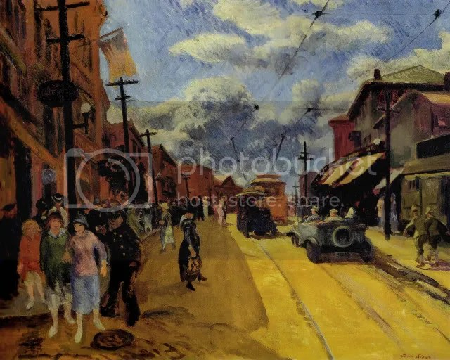 Main Street, Gloucester (1917). John Sloan (1871-1951). Medium, 26 x 32 1/4 in. New Britain Museum of American Art, Harriet Russell Stanley Fund, 1943.16.