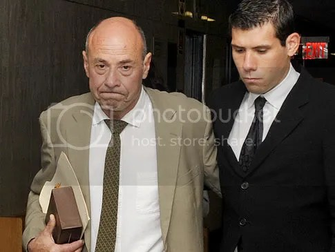 Lawrence Salander with son, Jonah, at Manhattan Supreme Court prior to his Tuesday sentencing