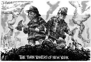 911 Newspaper Firefighter Cartoon