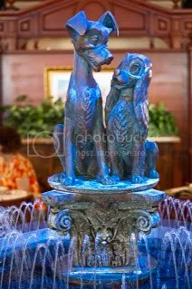 Lady and the Tramp Fountain in the center of the Restaurant