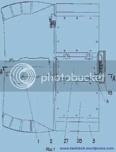 1 - Arma, 2 - Torre, 4 - Techo de Torre, 27 – sección de recarga con portezuela y panel de disipación, 28 – paneles de disipación de energía, 93 – cuerpo del mecanismo de recarga