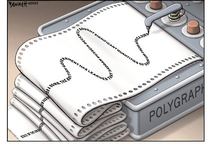Cartoonist Clay Bennett makes a case for leaders to take a polygraph test on the Iraq war. (Cartoon title - State of the Union Address; by Clay Bennett, for Chattanooga Times Free Press - dated 08/25/2003; source and courtesy - i78.servimg.com.org). Click for larger image.