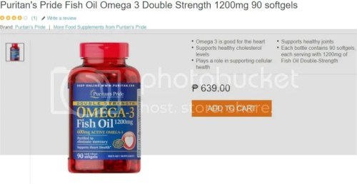 Puritan's Pride Fish Oil Omega-3 Double Strength 1200mg 90 softgels