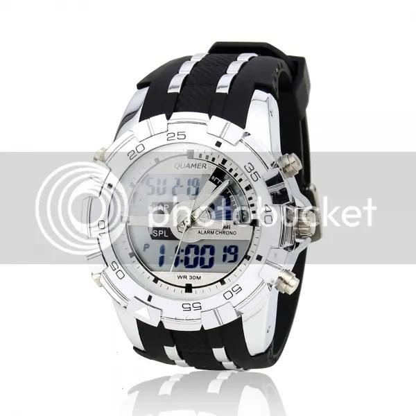Men-Big-Head-Dual-Movements-Waterproof-Sport-Digital-Quartz-Wrist-Watch-White