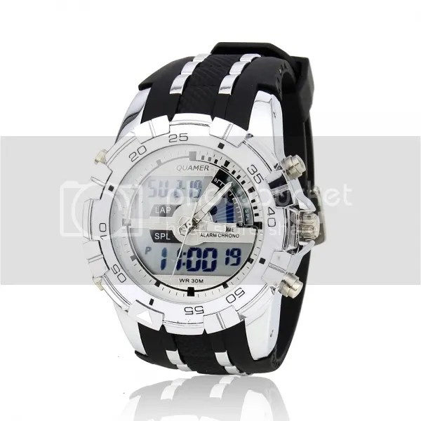 Men-Big-Head-Dual-Movements-Waterproof-Sport-Digital-Quartz-Wrist-Watch-White