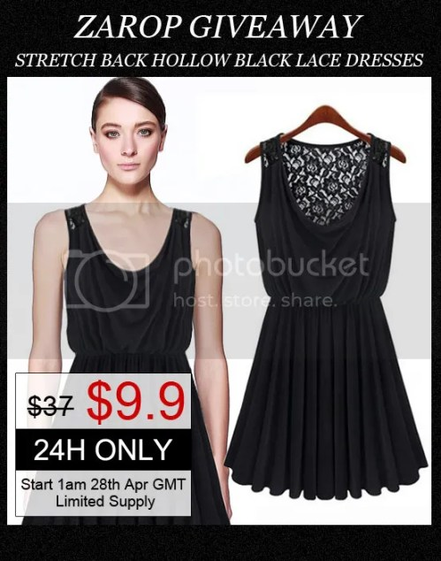 Stretch Back Hollow Black Lace Dress from Zarop