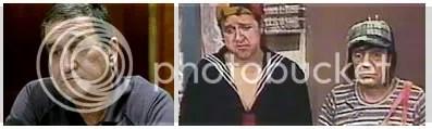 Olha como estão tristinhos: Kiko Parreira e o verdadeiro Kiko (ao lado do Chaves)