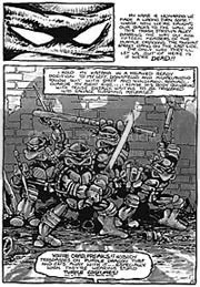 Primeira página dos quadrinhos originais das tartarugas mutantes