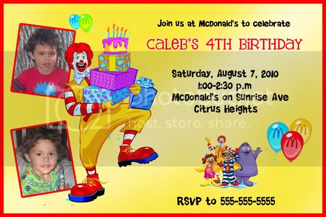 mcdonalds invitation card Invitationjpgcom