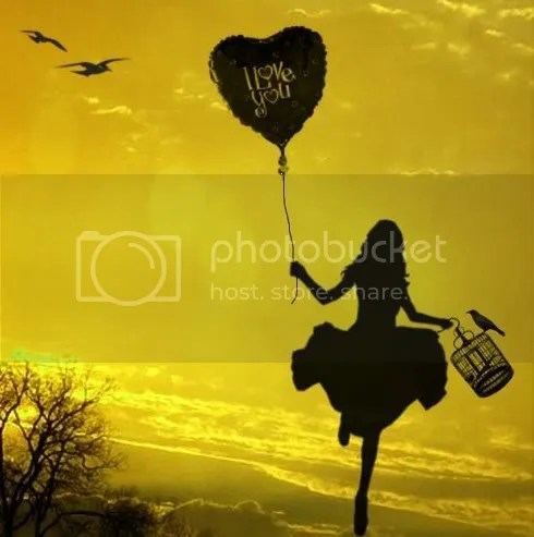 Silhouette of Girl w/Balloon Skipping Pictures, Images and Photos